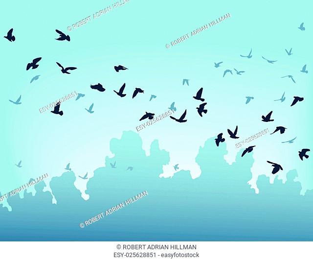 Vector illustration of a flock of flying birds