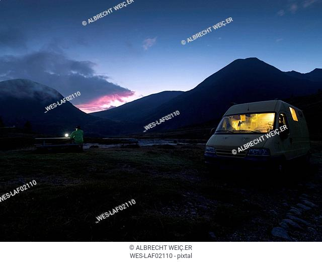Italy, Lombardy, Laghetto Vivione, camper at night