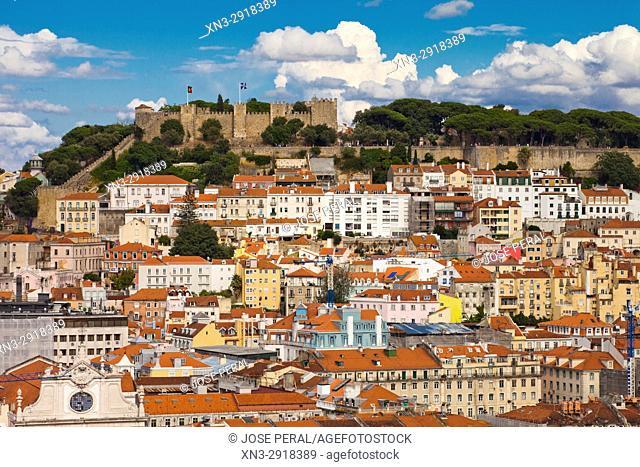 Castelo Sao Jorge, Castle of St. George, View from the Mirador de Sao Pedro de Alcantara, Barrio Alto, Lisbon, Portugal, Europe