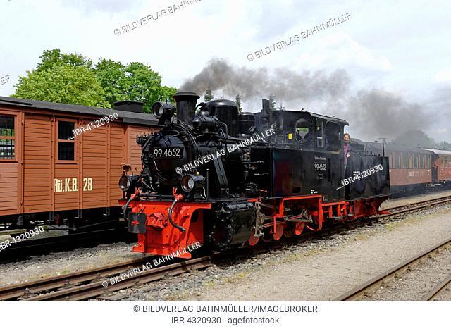 Steam locomotive, Rügensche Kleinbahn or Rasender Roland, narrow gauge railway, at the station in Putbus, Rügen, Mecklenburg-Western Pomerania, Germany