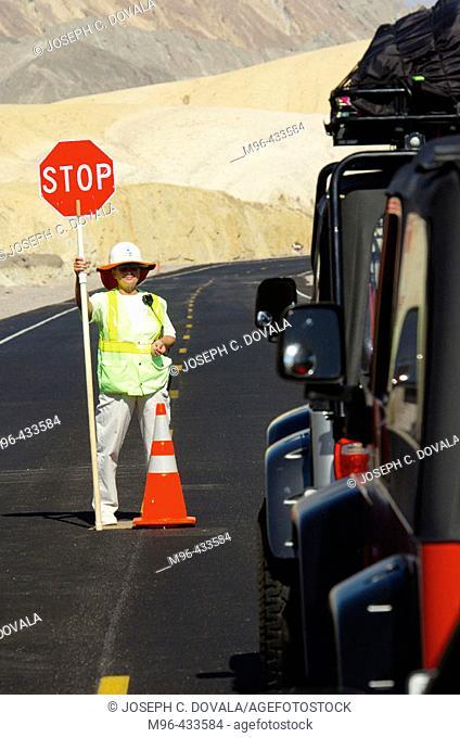 Road signal person. Death Valley. California. USA