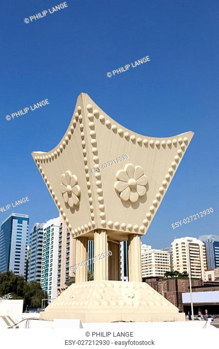 Arabian incense burner monument at the Al Iitihad Square in Abu Dhabi, United Arab Emirates