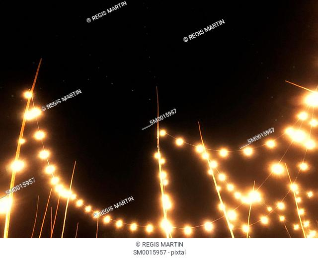 Outdoor party lights at night