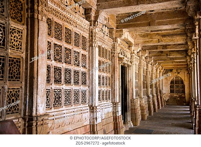 Partial view of Sarkhej Roza, mosque and tomb complex. Makarba, Ahmedabad, Gujarat, India