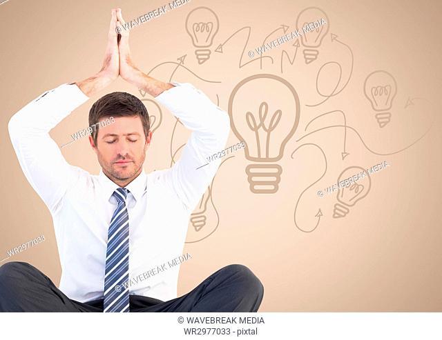 Business man meditating against cream background with lightbulb doodle