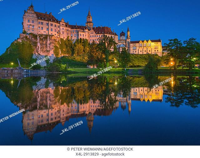 Sigmaringen Castle at evening, Upper Danube nature park, Swabian Alb Baden Wurttemberg, Germany, Europe