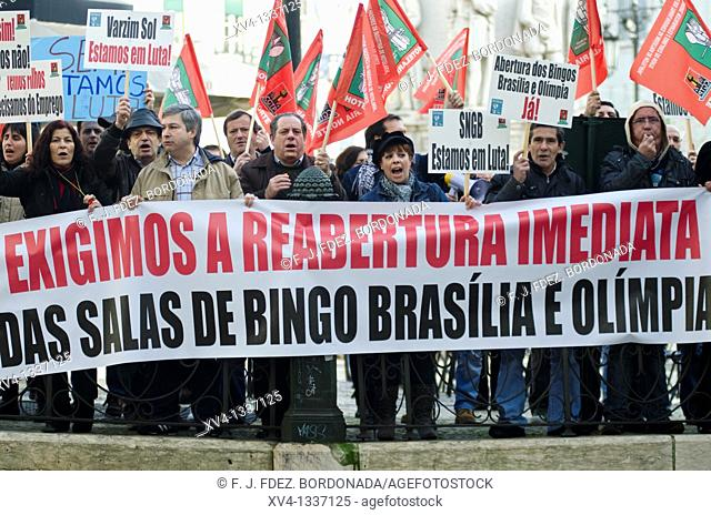 Workers strike in Lisboa  Portugal, Europe
