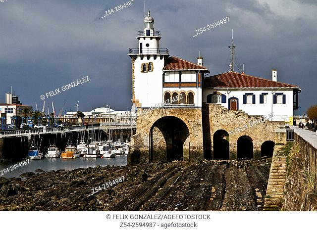 Light House at Getxo Harbor Bizkaia, Basque Country, Spain