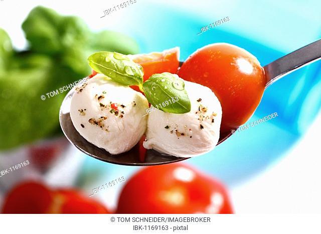 Tomatoes, mozzarella and basil on a spoon