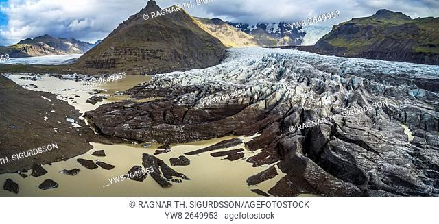 Svinafellsjokull is an outlet glacier of the Vatnajokull Ice Cap located in Eastern, Iceland. This image is shot using a drone