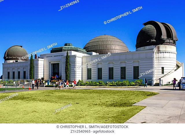 The Griffith Observatory in Griffith Park overlooking Los Angeles CA