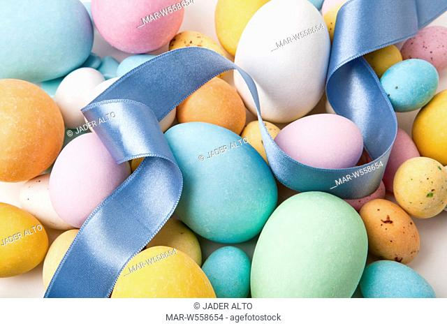 Easter eggs colored sugar