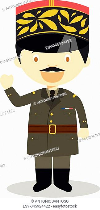 Charles de Gaulle cartoon character. Vector Illustration