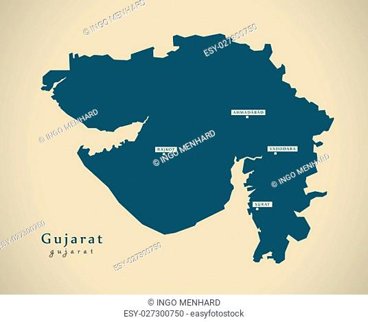 Modern Map - Gujarat IN India federal state illustration silhouette