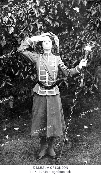 Mary Leigh, organiser, 1909. She is wearing her purple, white and green uniform as Drum Major of the Women's Band. A year earlier