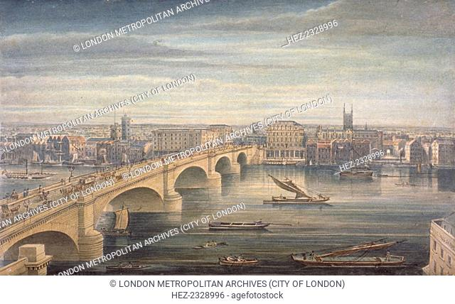 London Bridge, London, c1835. View of London Bridge, Bankside and Tooley Street from the north-west. Horse-drawn carts and carriages pass over the bridge...