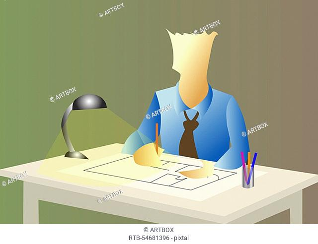 Close-up of a businessman working under a lamp