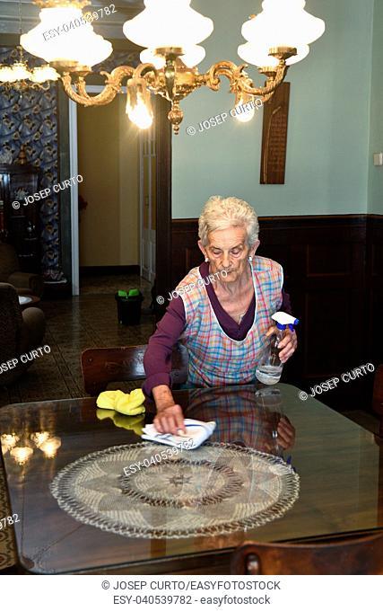 senior woman dusting the house