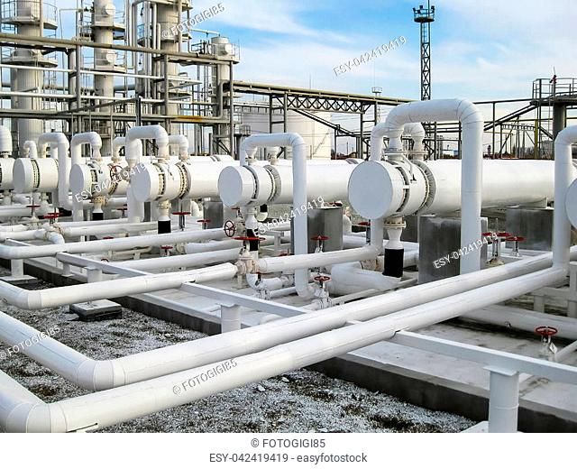 Heat exchangers in refineries. The equipment for oil refining. Heat exchanger for flammable liquids. The plant for the primary processing of oil