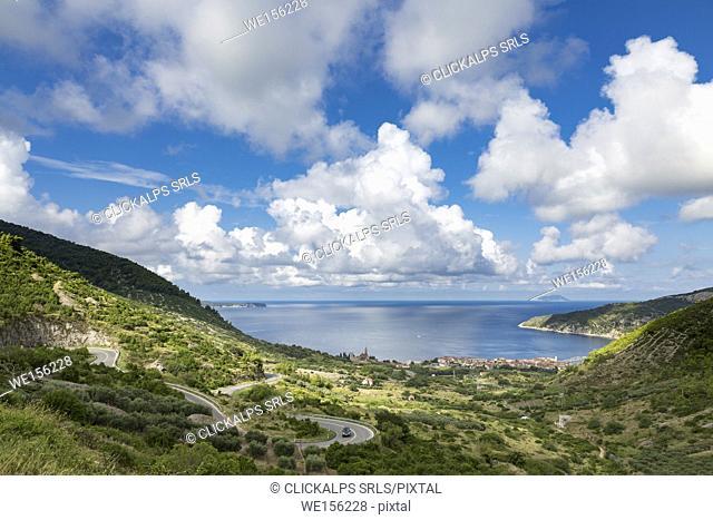 View of Komiza village and its bay (Komiza, Vis, Vis Island, Split-Dalmatia county, Dalmatia region, Croatia, Europe)