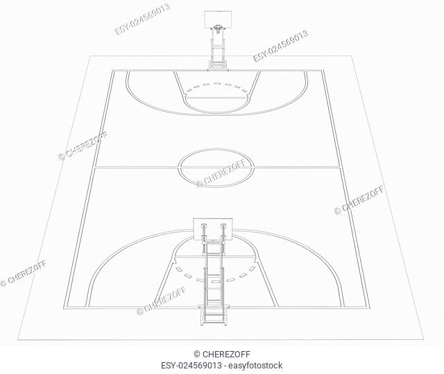 Basketball court. Wire frame. 3d render isolated on a black background