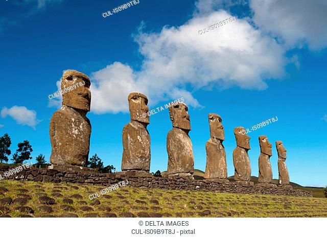 Ahu Akivi, row of seven moai statues on Easter Island