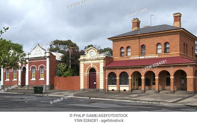 19th-century streetscape of Creswick, Victoria, Australia, incorporating the former post office