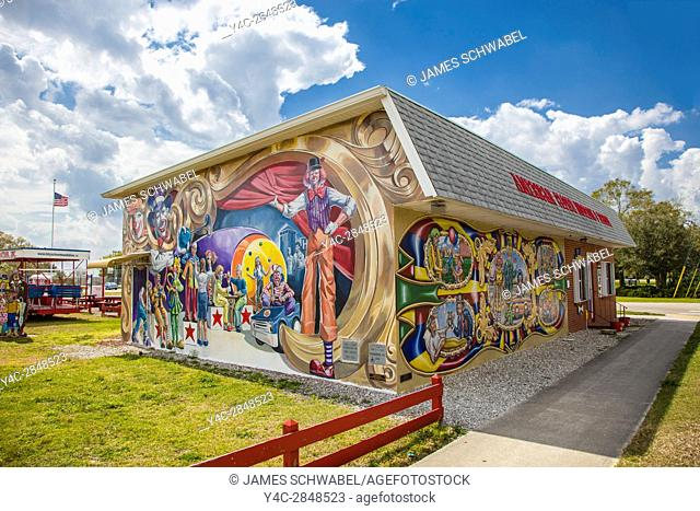 Murals on American Clown Museum & School in Lake Placid Florida known as the Town of Murals