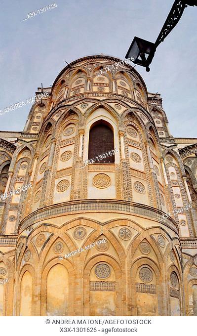 The exterior facade of Duomo di Monreale Sicily Italy