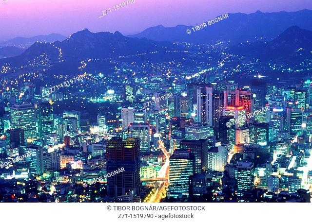 South Korea Seoul downtown skyline