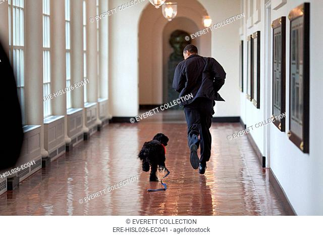 President Barack Obama runs down the East Colonnade with family dog Bo on his initial visit to the White House March 15 2009