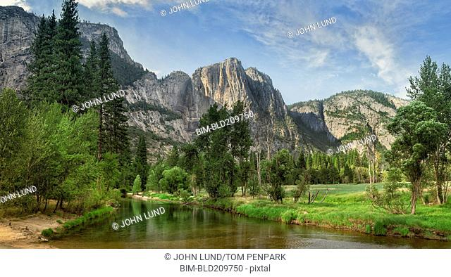 Still river in Yosemite National Park, California, United States