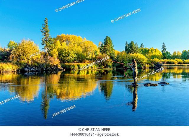 North America, USA, Central Oregon, Oregon, Deschutes river , fly fishing near Dillon Falls