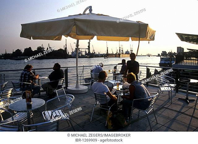 Bar Cafe Restaurant Terrace overlooking the port of Hamburg and the Elbe river, near the St. Pauli jetties, Hanseatic City of Hamburg, Germany, Europe