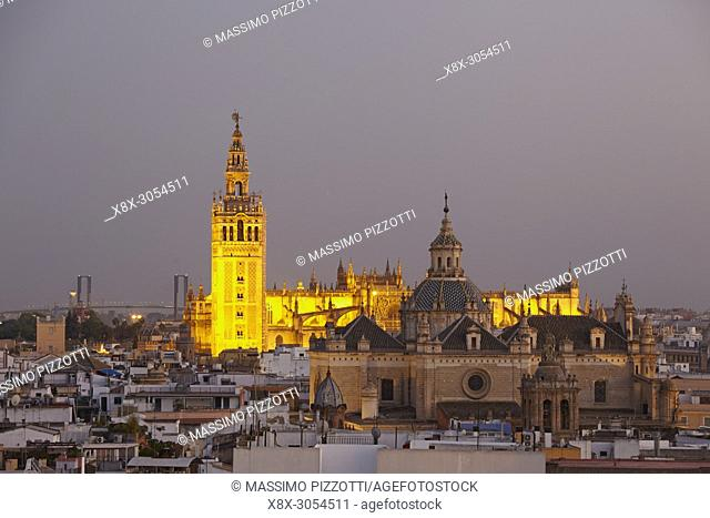 The cathedral Saint Mary of the See at dusk, seen from the top of the Metropol Parasol, Seville, Spain