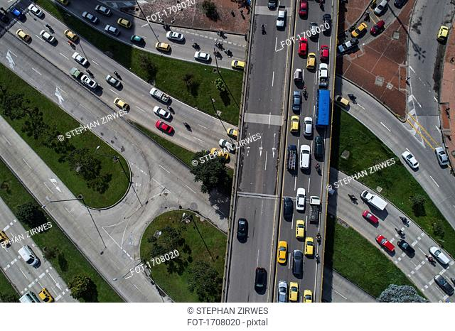 Drone view of traffic on streets in city, Bogota, Columbia