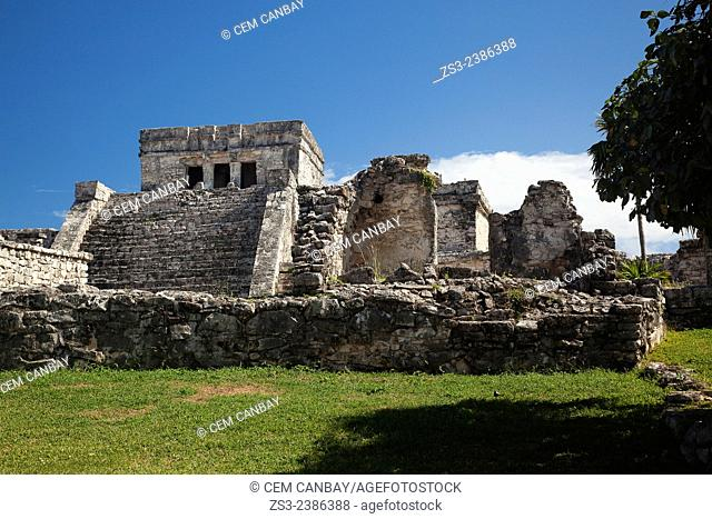 El Castillo-The Castle in Mayan Ruins at Maya archeological site of Tulum, Quintana Roo, Yucatan Province, Mexico, Central America