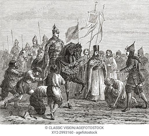 Ivan the Terrible entering Kazan in 1552. Ivan IV Vasilyevich, 1530 - 1584, aka Ivan the Terrible or Ivan the Fearsome. Grand Prince of Moscow from 1533 to 1547