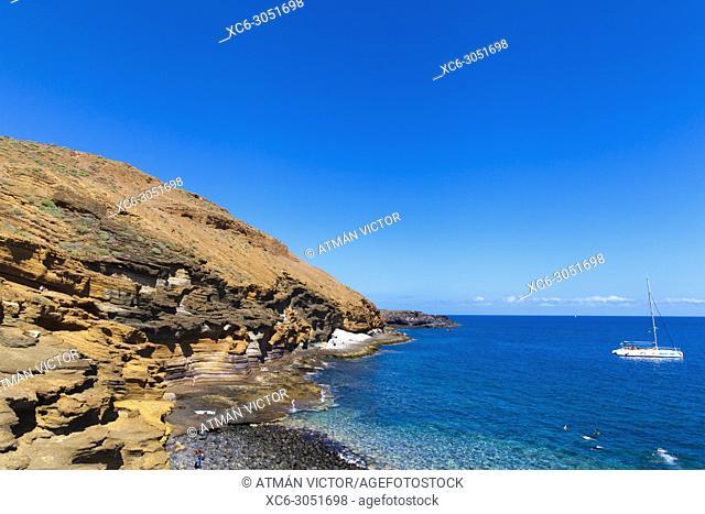 Yellow mountain Natural Monument beach. Tenerife, Canary Islands, Spain