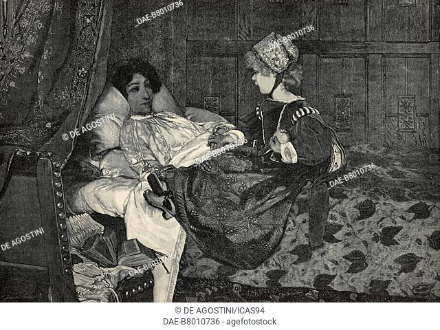 Always welcome, Child at her mother's sick-bed, engraving after a painting by Laura Theresa Alma-Tadema (1852-1909), from The Illustrated London News, No 2561