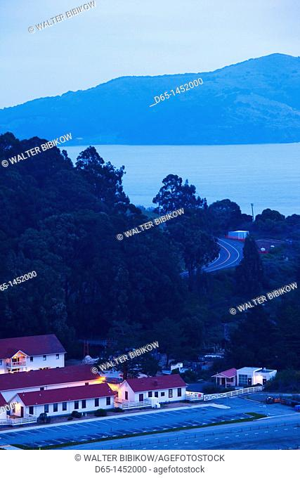 USA, California, San Francisco, Marin Headlands, Golden Gate National Recreation Area, elevated view of Fort Baker area, dawn