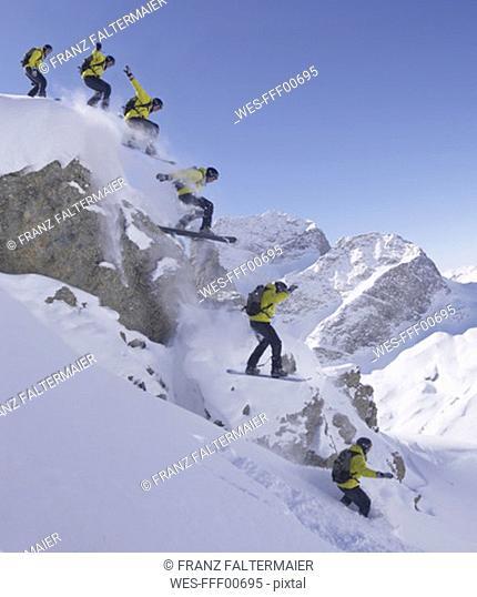 Switzerland, St  Moritz, skier jumping