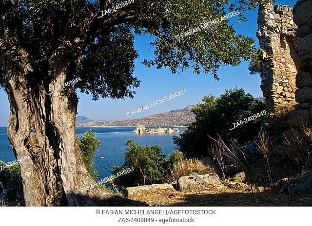 Ruins of Herakleia near the village of Kapikiri at the foot of Mt Latmos on the shore of Lake Bafa in southwestern Turkey