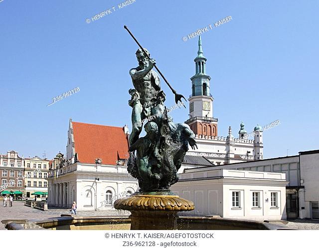 Neptune fountain Statue, Old Market Square, Poznan, Poland