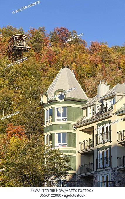 Canada, Quebec, The Laurentians, Mont Tremblant, Mont-Tremblant Ski Village, autumn, ski chalets