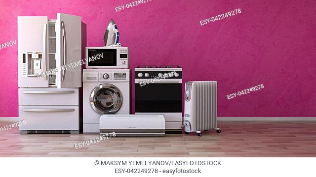 Set of household home appliancess on pink background. Kitchen technics in the new appartments. E-commerce online internet store and delivering of appliances...