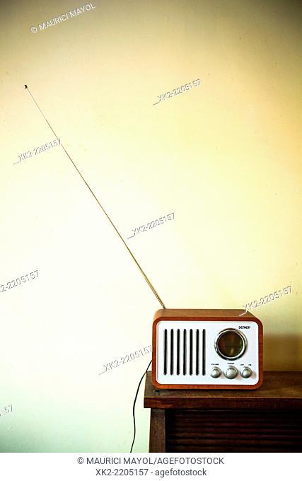 New Old style classic radio on a bureau table