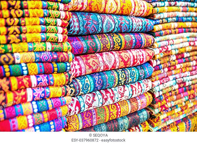 Textiles and Clothing at the bazaar. The Turkish market