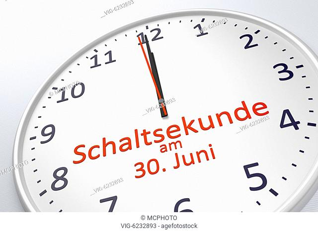 3d rendering of a clock showing leap second at june 30 in german language - 01/01/2018