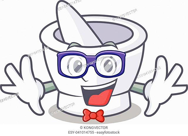 Geek mortar character cartoon style vector illustration